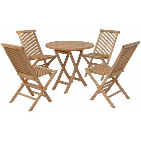Salon de jardin en teck LOMBOK - table ronde pliable 80cm - 4 places - Marron