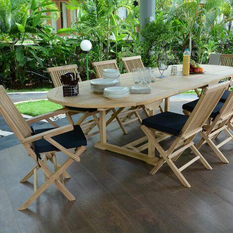 Salon de jardin en teck qualité Ecograde Biarritz, 8 places - Naturel