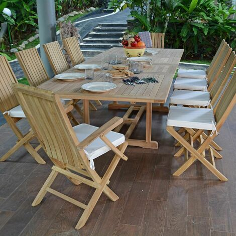 Salon de jardin en teck qualité Ecograde Bornéo, 10/12 places