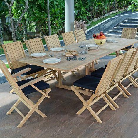 Salon de jardin en teck qualité Ecograde Malaga, 12 places
