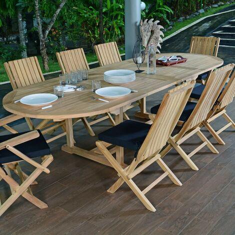 Salon de jardin en teck qualité Ecograde Malte, 8/10 places ...