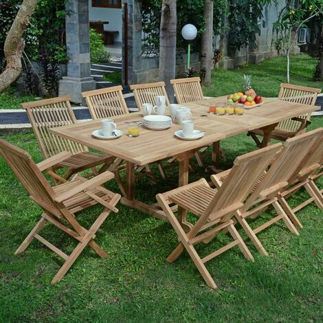 Salon de jardin en teck qualité Ecograde Vienne, 10 places ...