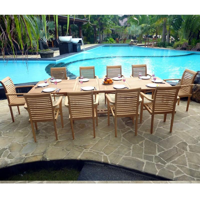 Fauteuils Teck Table Empilables 10 Mètres Jardin 3 Salon De En WdBerCxo