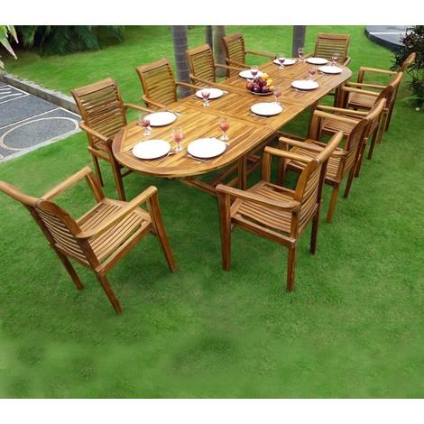 Salon de Jardin en Teck Table 3 mètres 10 fauteuils empilables - 55