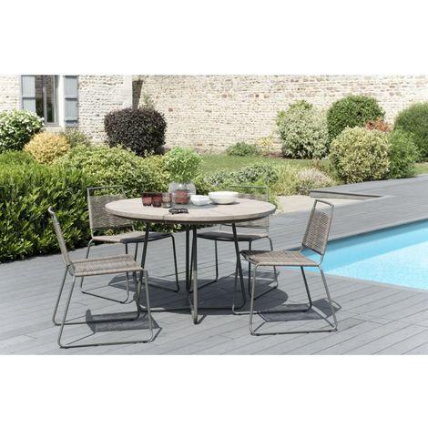 Salon de jardin en teck teinté, comprenant 1 table à manger ronde et 2 lots  de 2 chaises empilabes cordage synthétique - MACABANE