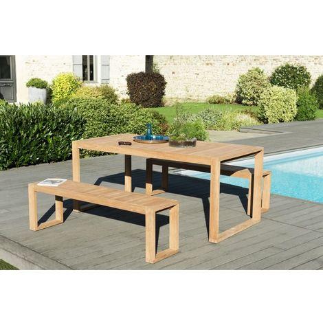Salon de jardin en teck teinté, comprenant 1 table OSLO 180*90cm couleur  naturelle et 2 bancs OSLO 150*35cm couleur naturelle - MACABANE