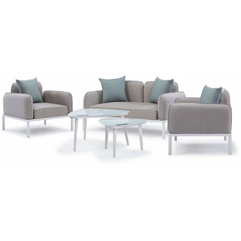 Salon de jardin en tissu 'Sevilla' - 1 canapé 2 places + 2 fauteuils + 2 tables basses - Gris