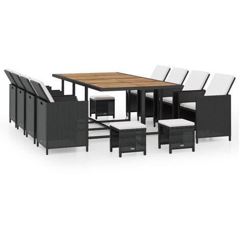 Salon de jardin encastrable 13 pcs Rotin et bois d'acacia Noir