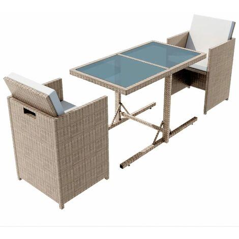 Salon de jardin encastrable 3 pcs avec coussins Rotin Beige