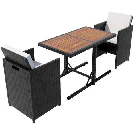 Salon de jardin encastrable 3 pcs avec coussins Rotin Noir