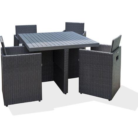 Salon de jardin encastrable 4P en r_sine tres_ee et plateau aluminium - NOIR