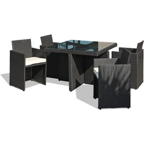 Salon de jardin encastrable 4P en resine tressee / plateau ...