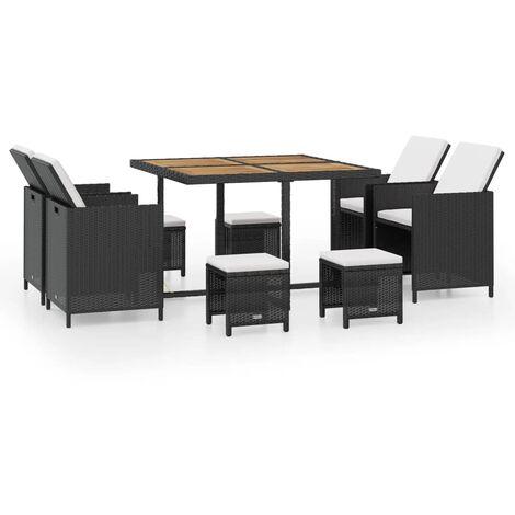 Salon de jardin encastrable 9 pcs Rotin et bois d'acacia Noir