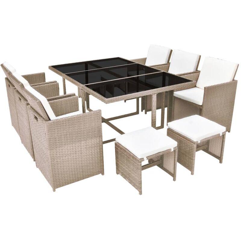 Salon De Jardin Encastrable Avec Coussins 11 Pcs Rotin Beige 42557