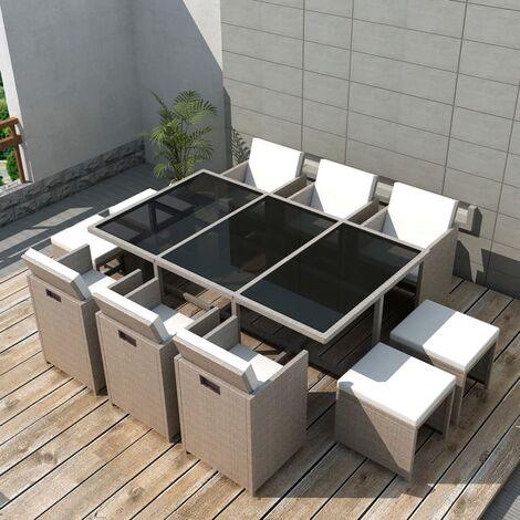 Salon de jardin encastrable avec coussins 11 pcs Rotin Beige
