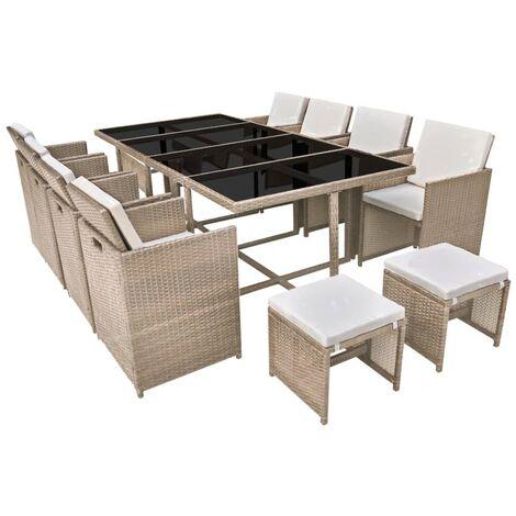Salon de jardin encastrable avec coussins 13 pcs Rotin Beige