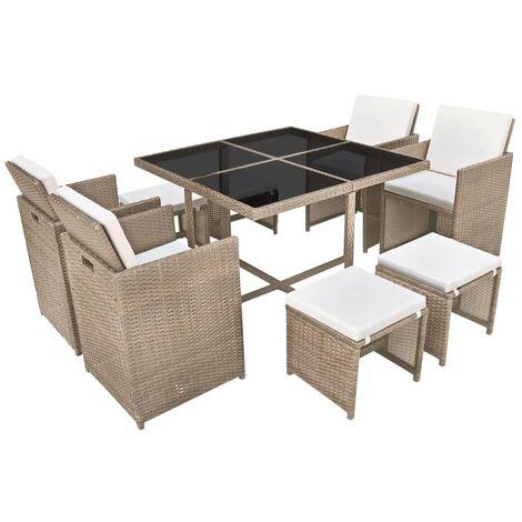 Salon de jardin encastrable avec coussins 9 pcs Rotin Beige