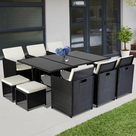 salon de jardin encastrable merida noir 10 places r sine. Black Bedroom Furniture Sets. Home Design Ideas