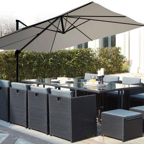 Salon de jardin encastrable Miami 12 noir/gris + Parasol déporté ...