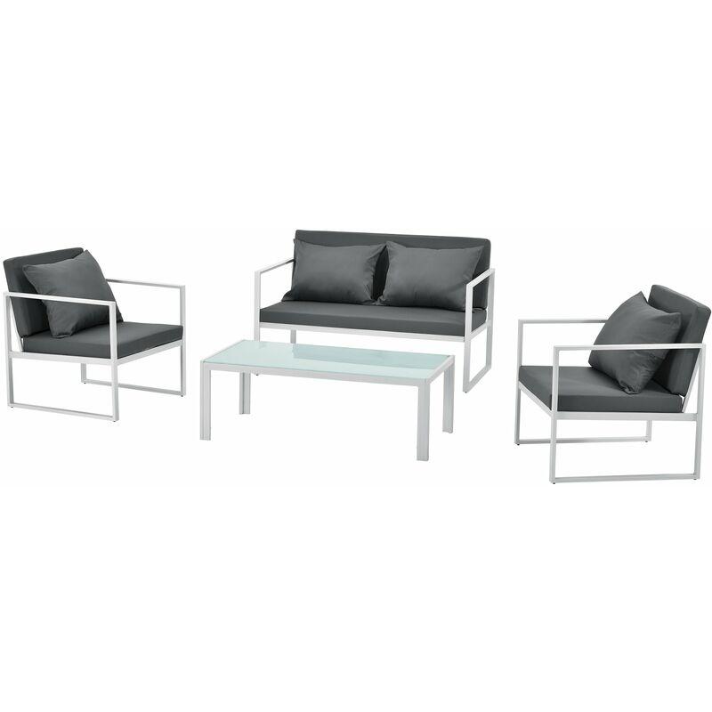 Salon de jardin ensemble de jardin table basse avec canapé et chaises extérieures métal verre polyester blanc - Blanc