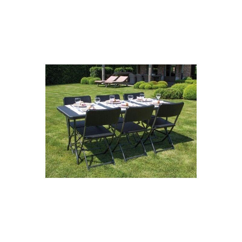 Salon de jardin - ensemble table 180cm et 6 chaises imitation résine tressée