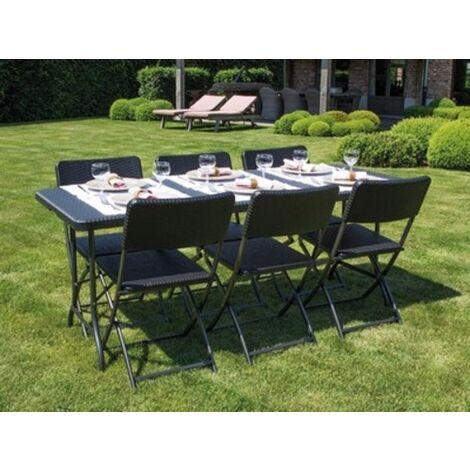 Salon de jardin - ensemble table 180cm et 6 chaises ...