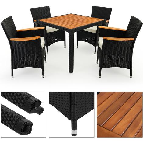 Salon de jardin - Ensemble table et 4 chaises Polyrotin Bois ...
