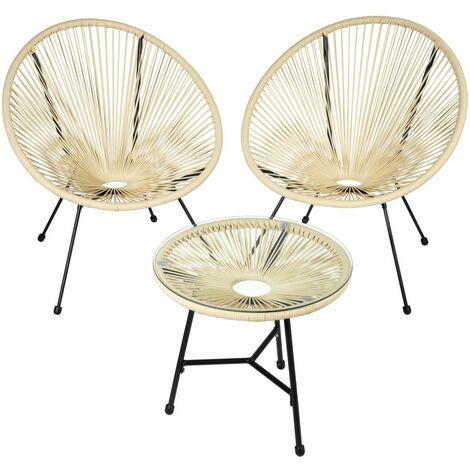 Salon de jardin ensemble table et chaises de jardin beige - Beige