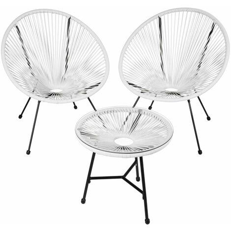 Salon de jardin ensemble table et chaises de jardin blanc - Blanc
