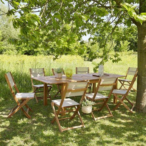 Salon de jardin extensible bois d'acacia 8 à 10 places - Marron