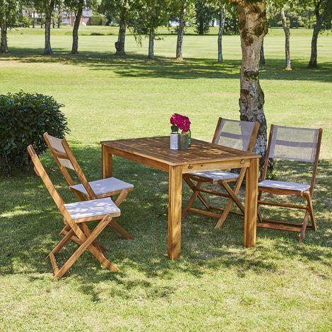 Salon de jardin extensible en bois d'acacia 4 à 8 places - Marron