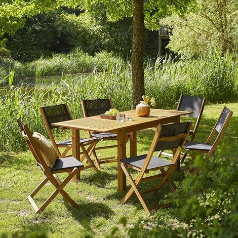Salon de jardin extensible en bois d'acacia 6 à 8 places - Marron