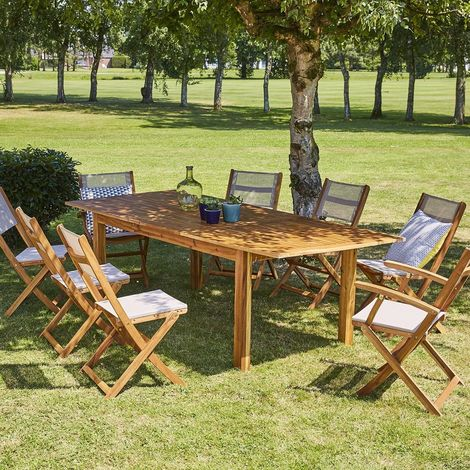 Salon de jardin extensible en bois d'acacia 8 à 10 places - Marron