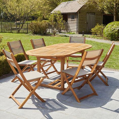 Salon de jardin extensible en bois d'acacia gris 6/8 places