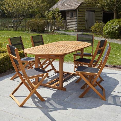 Salon de jardin extensible en bois d'acacia noir 6/8 places