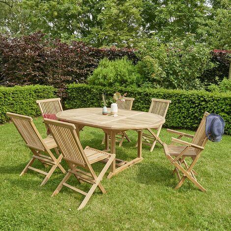 Salon de jardin extensible en bois de teck 6 à 8 places - Naturel