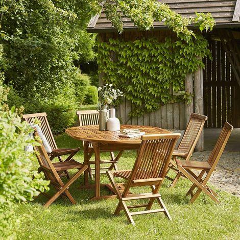 Salon de jardin extensible en teck huilé 6 à 8 places