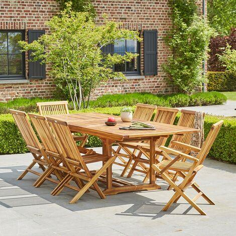 Salon de jardin extensible en teck huilé 8/10 places - Naturel