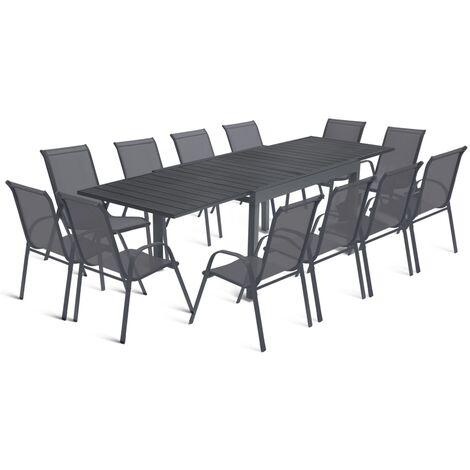 """main image of """"Salon de jardin extensible POLY gris foncé table 135-270 cm et 12 chaises"""""""