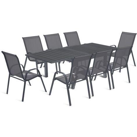"""main image of """"Salon de jardin extensible POLY gris foncé table 90-180 cm et 8 chaises"""""""