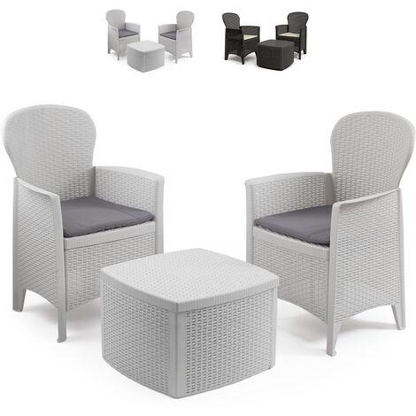 Salon de jardin extérieur 2 fauteuils coussins table rotin ProGarden Tree   Blanc