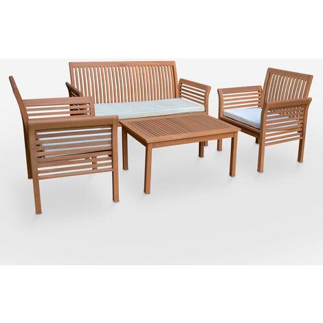 Salon de jardin extérieur canapé fauteuils coussins table en bois Lectulus