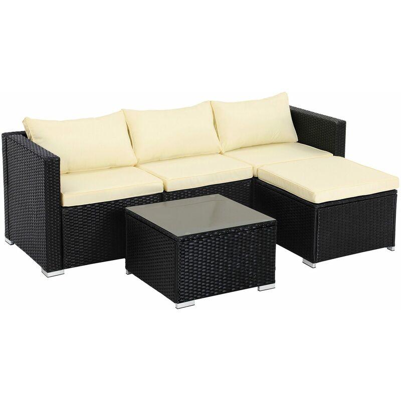 Salon de jardin extérieur, Ensemble de 5 meubles de jardin surface tressée, Canapé d'extérieur, dessus de table en verre trempé, avec coussins, Noir