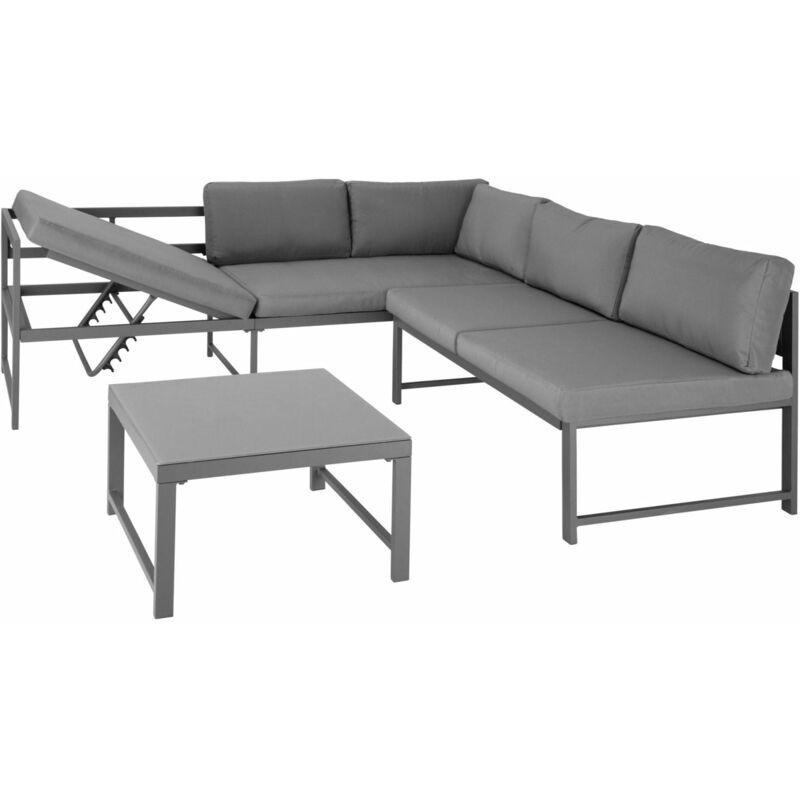 Helloshop26 - Salon de jardin extérieur aux grandes dimensions 5 places aluminium léger gris - Gris