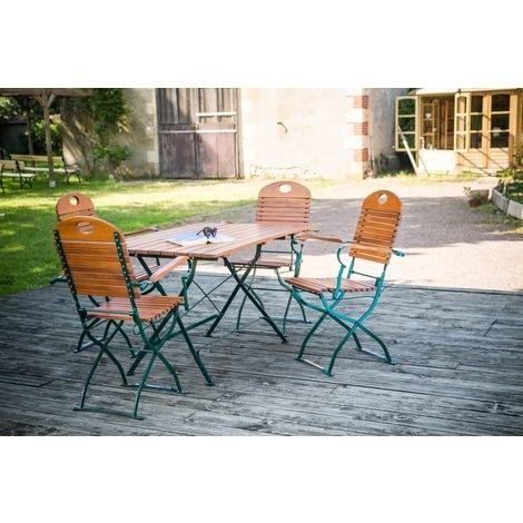 Salon de jardin FLORA table pliante rectangulaire + 4 fauteuils ...