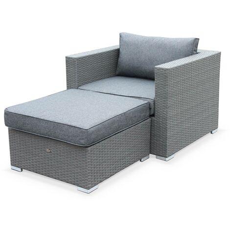 Salon de jardin Genova, fauteuil + pouf en résine tressée grise ...