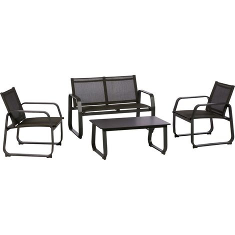 Salon de jardin Gili - 4 Places - Anthracite chiné - 509243