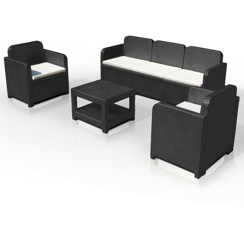 Salon de jardin Grand Soleil POSITANO en Poly-rotin Canapé table basse  fauteuils 5 places pour extérieurs