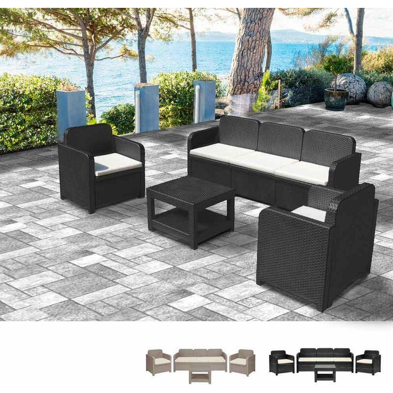 Salon de jardin Positano en Poly-rotin Canapé table basse fauteuils 5 places pour extérieurs | Noir - Grand Soleil