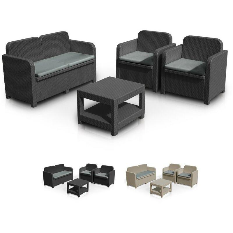 Salon de jardin Sorrento en Poly rotin table basse fauteuils pour exterieur 4 places | Noir - Grand Soleil